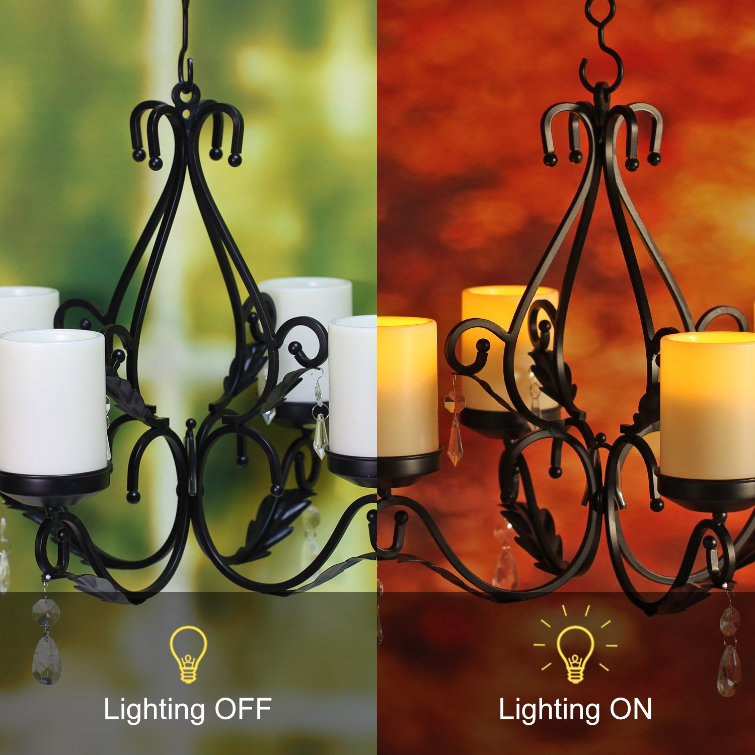 GiveU 3 IN 1 Lighting Chandelier, Metal Wall Sconce Set of 2, Table Centerpiece for Indoor or Outdoor, Chain and Candles Included, Black by GiveU (Image #4)