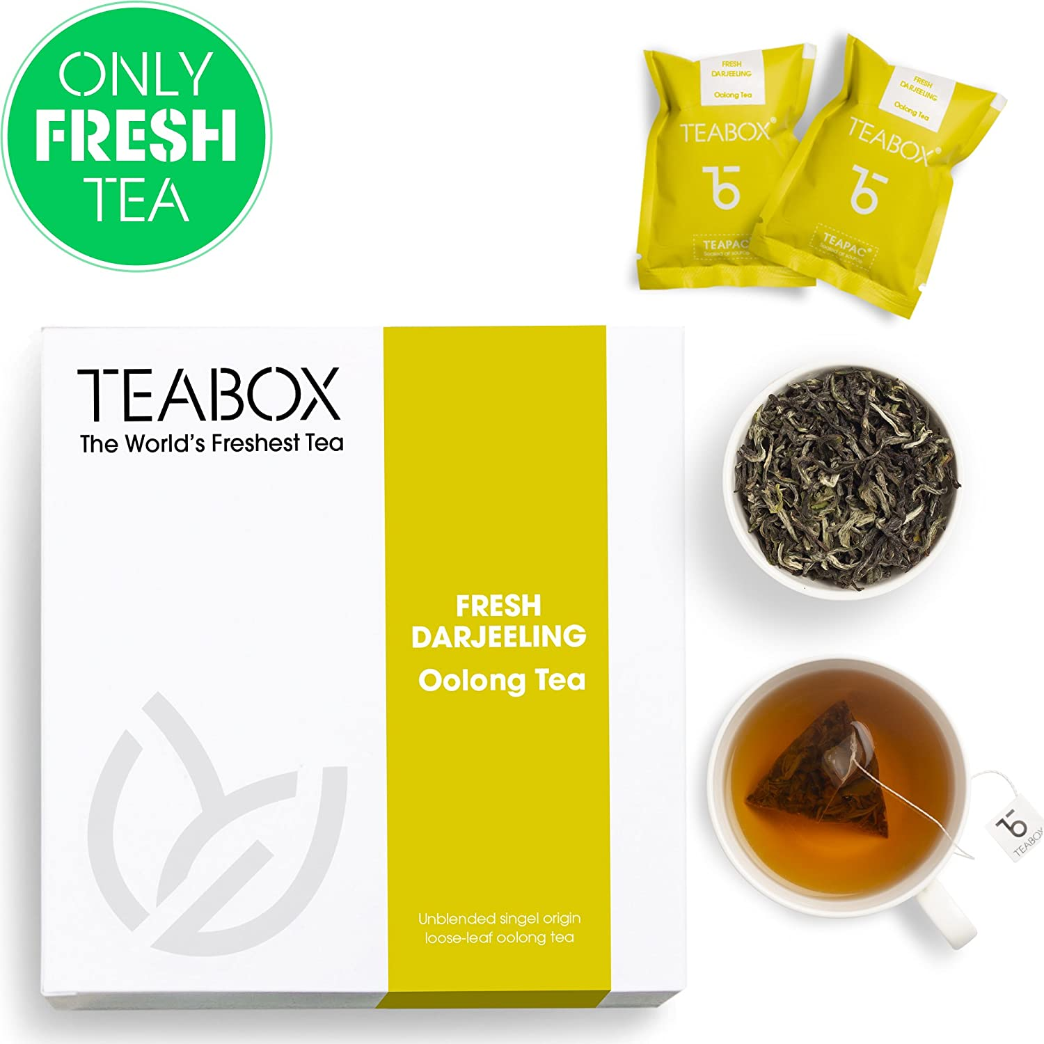 Teabox Darjeeling Oolong Tea, 16 Tea Bags | 100% Pure Natural Slimming Oolong for Weightloss | Low Caffeine and High Anti-Oxidants | Sealed-at-Source Freshness from India