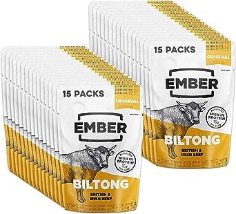Ember Biltong – Beef Jerky - Cecina de Vaca - Aperitivo alto en Proteínas - Original (30x28g)