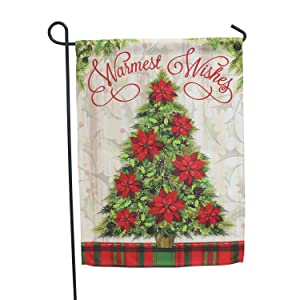 LAYOER Home Garden Flag 13 x 18 Inch House Double Sided Christmas 12 x 18 inch (Christmas Tree Wishes)