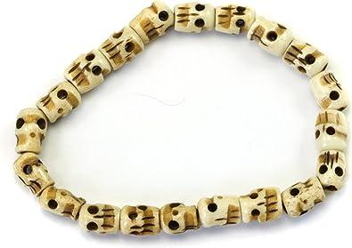Amazon Com Spyglass Designs Men S Skull Bracelet White Bone Carved Mala Beads Man S Male Adjustable 8 Real Bone Skull Jewelry