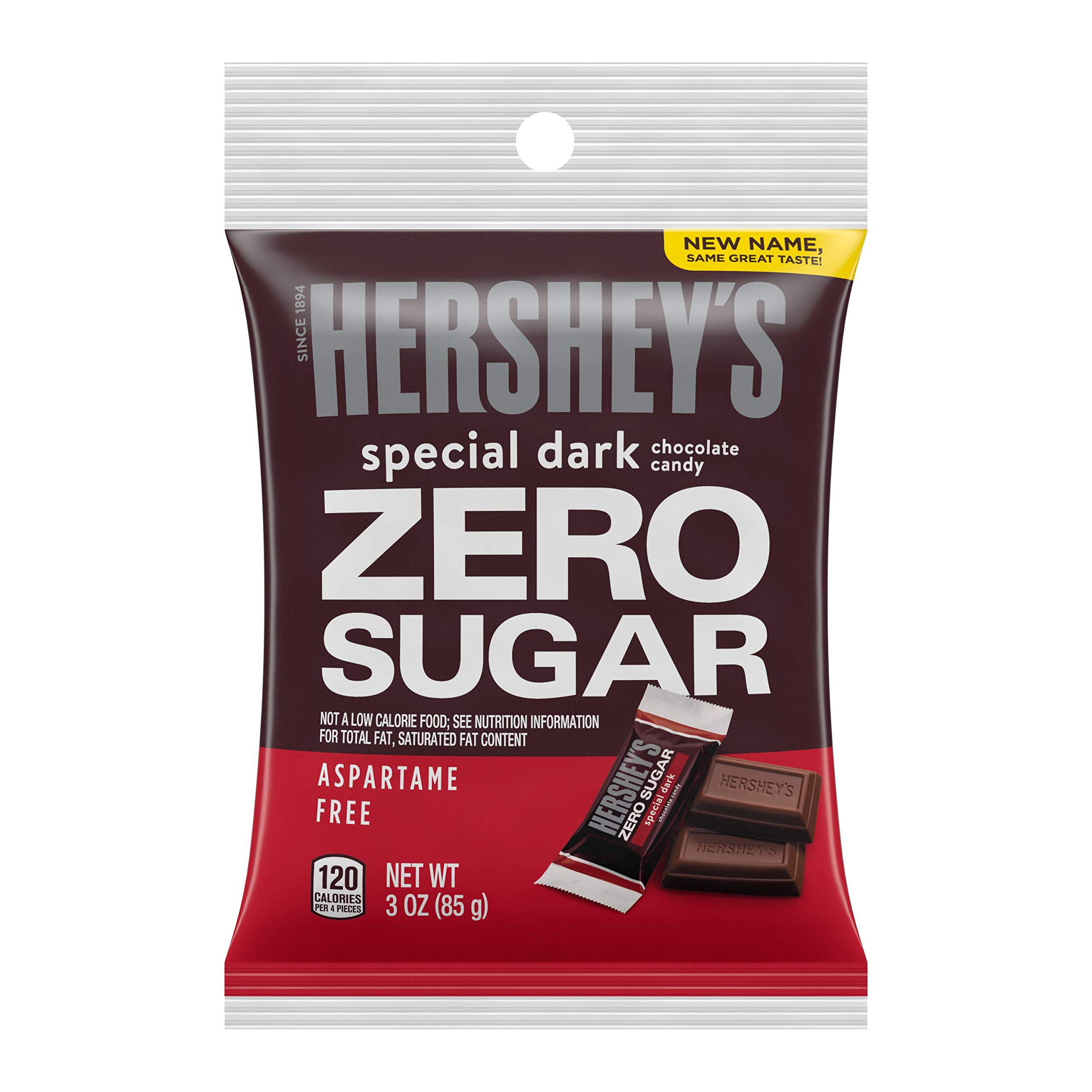 HERSHEY'S Sugar Free SPECIAL DARK Chocolate Candy Bars, 3oz (Pack of 12)