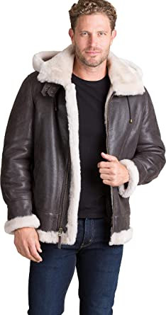 Sheepskin Men's Shearling Detachable B3 Jacket Flight Hooded e29YEDWHI