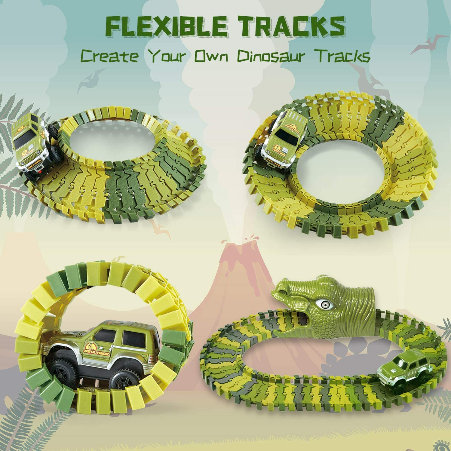 280 Flexible Race Tracks with 2 Off-Road Cars for Boys Girls Age 3 and Up KO-ON Dinosaur Race Track for Kids Create Your Own Dinosaur Toy World Race Road