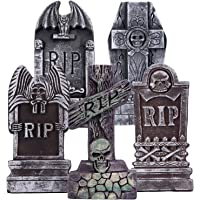 AYOGU1 17€ Halloween Foam RIP Graveyard Tombstones (Pack of 5)-Lightweight RIP Tombstone with 8 Metal Stakes for Halloween Decorations