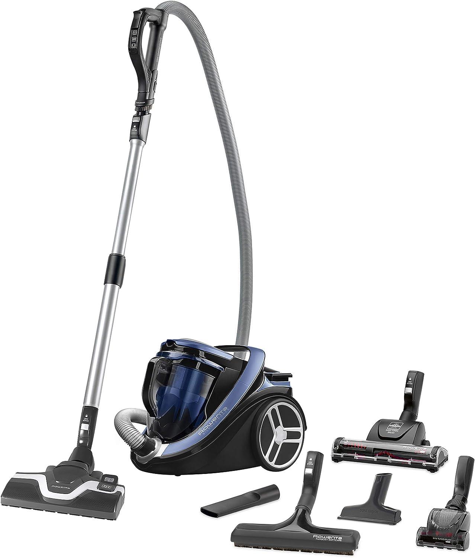 Rowenta Silence Force Cyclonic Animal Care - Aspiradora sin bolsa con cabezal Power Air, deslizamiento óptimo, ergonómica, depósito de suciedad de 2.5 l, azul y negro