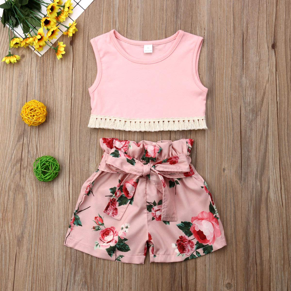 2Pcs Baby Girls Tassel Vest Top with Floral Bowknot Shorts Sunsuit Playwear Outfits
