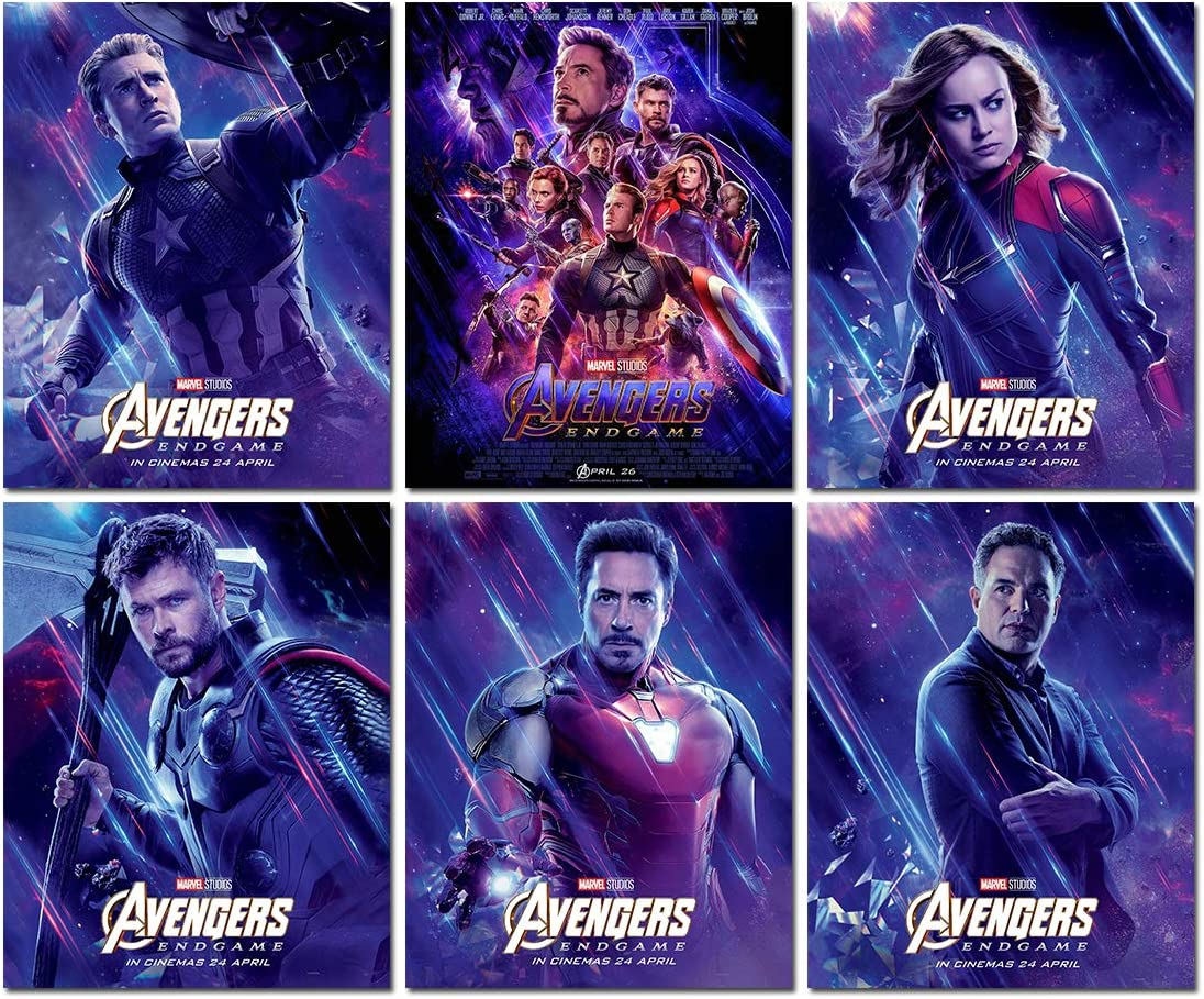 Marvel Poster Avengers Endgame Movie - Canvas Wall Art Superhero Decoration of Iron man/thor /Captain America/Captain Marvel/hulk/ 6 set Unframed Wall Print Painting 8x10 inch for Kids Room Decor