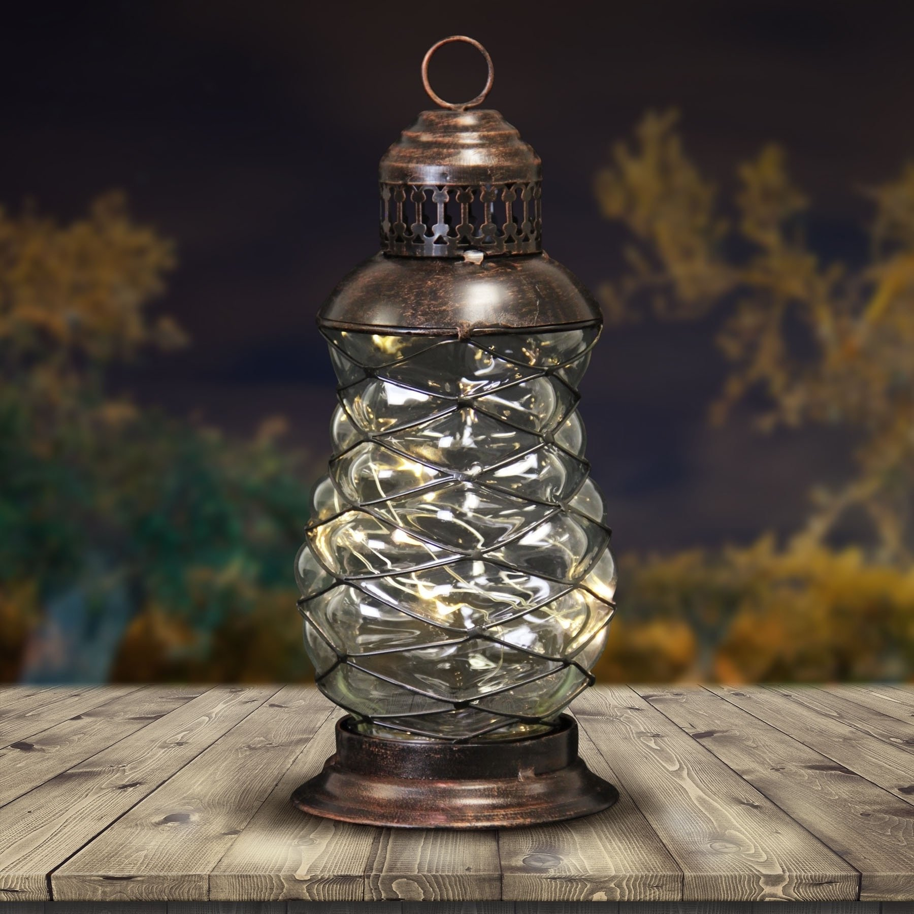 Add Some Magic and Charm to Your Garden with this Elegant 10'' Solar Bronze LED Firefly Lantern,Sparks Warmth and Delight When its String of LED Fireflies Automatically Illuminate at Dusk