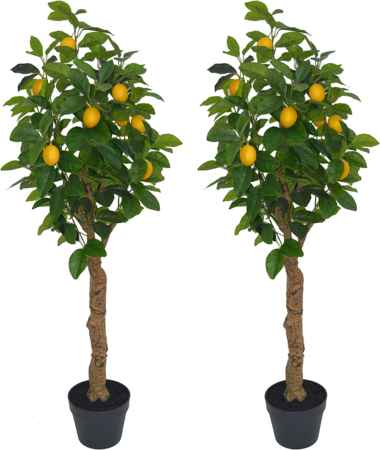 AMERIQUE Pair 4 Feet Gorgeous & Lifelike Six-Branch Artificial Trees with Various Size Lemon Fruits, with Sculpting Resin Trunks and Pot, Real Touch Tech, 48