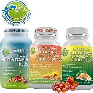 Best Optimal Natural Immune & Cardiovascular Support, Whole Food Multivitamin Plus Liposomal Vitamin C & Liposomal Glutathione, High Absorption, Potency, Bioavailability, Gluten Free, Vegan, Non-GMO