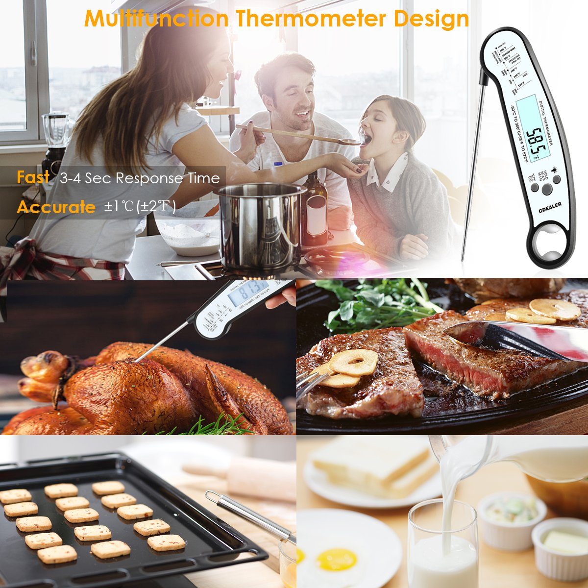 GDEALER Waterproof Digital Meat Thermometer with Bottle Opener Super Fast Instant Read Thermometer BBQ Thermometer with Calibration and Back-lit Function Cooking Thermometer for Food,Candy,Milk by GDEALER (Image #6)