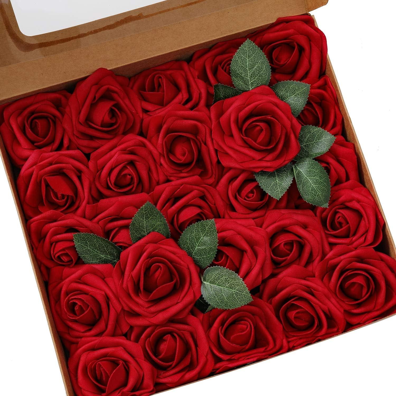 Ksnrang - Rosas Artificiales de Aspecto Real, Rosas Falsas de Color Fucsia para Bricolaje, Ramos de Boda, centros de Mesa, decoración para el hogar, Rojo Vino, 25pcs