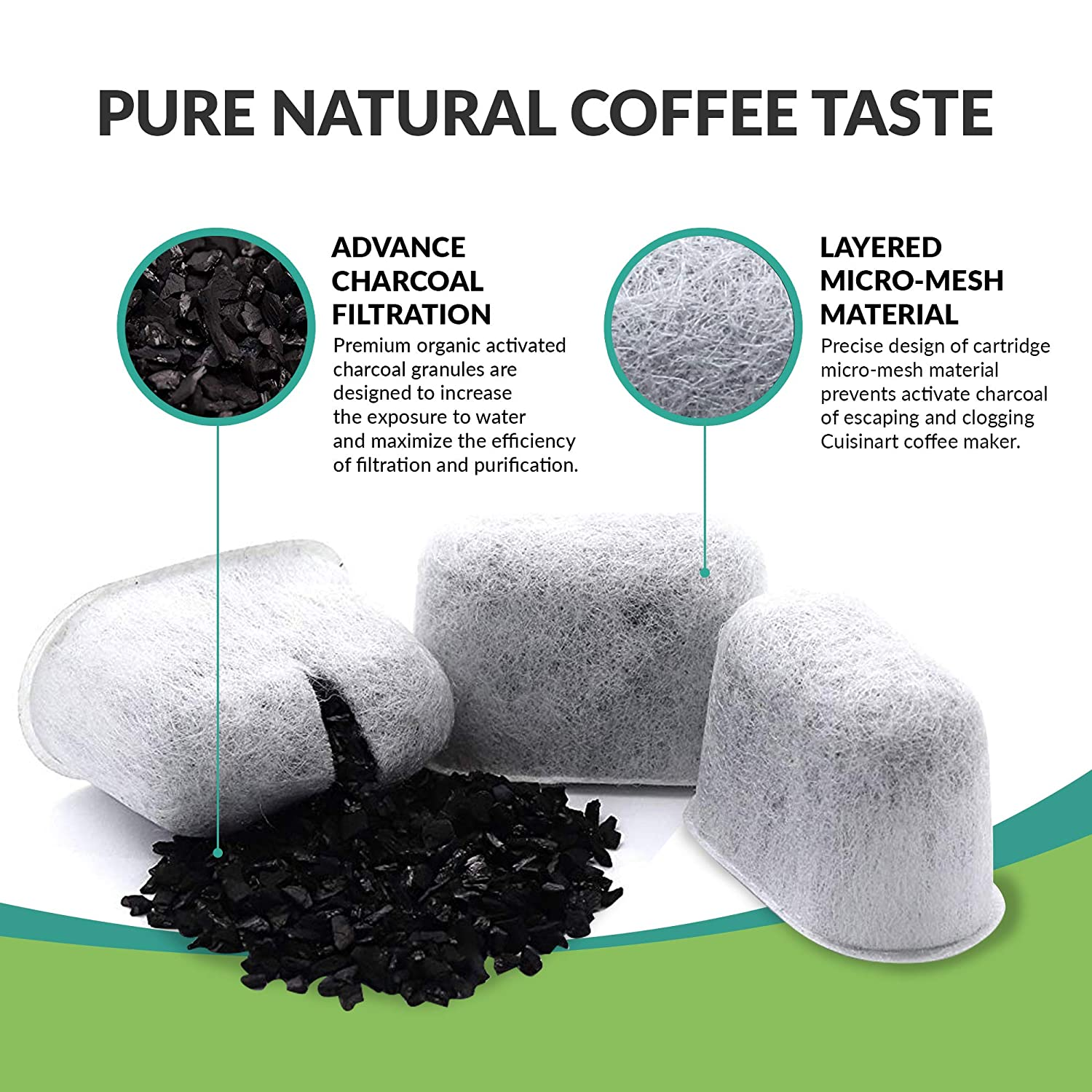 Replacement Charcoal Water Filter For Cuisinart DCC-2000 Coffee Machines 4 Pk