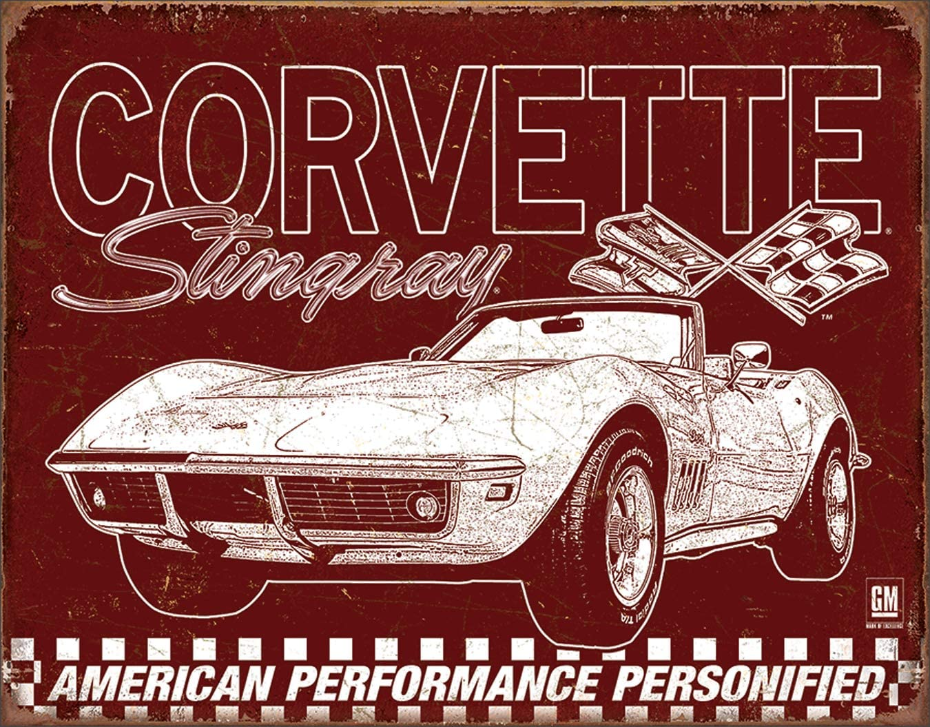 """Desperate Enterprises Corvette - 69 Stingray Tin Sign, 16"""" W x 12.5"""" H"""