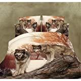 3d Bedding Sets Home Textile Wild Wolf Tree Pattern 4pcs Queen Size