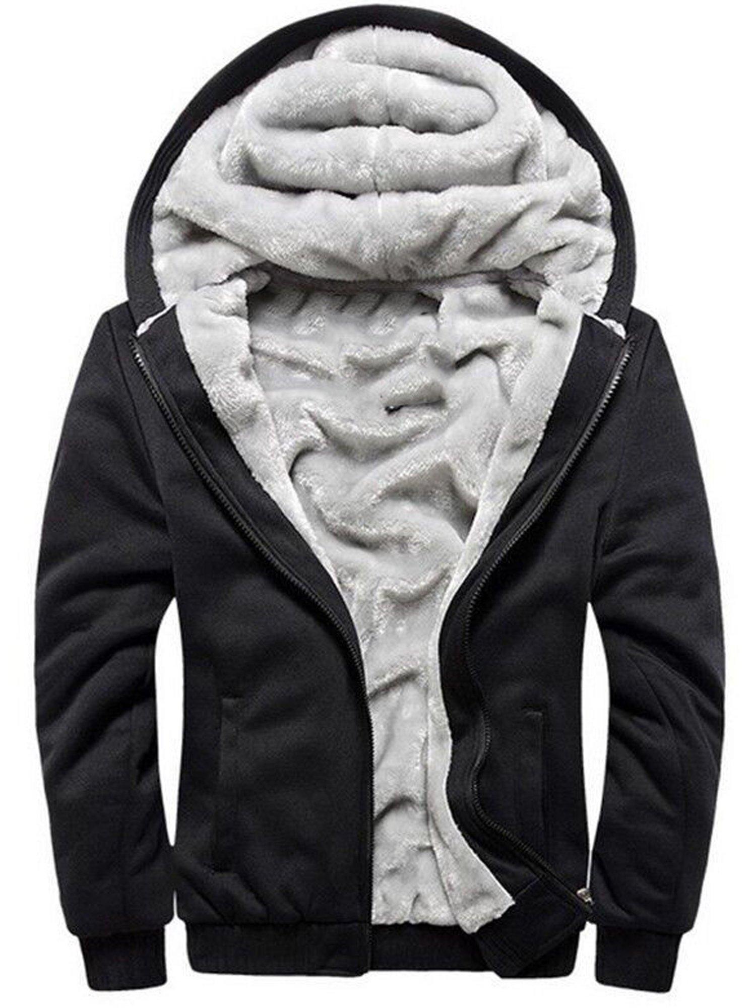 TOLOER Men's Pullover Winter Fleece Hoodie Jackets Full Zip Warm Thick Coats Black X-Large
