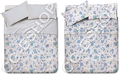 9b6b692b47 Confezioni Giuliana TRAPUNTINO Primaverile + Completo Lenzuola Matrimoniale  2P Oceano Blu Mare Corallo: Amazon.it: Casa e cucina