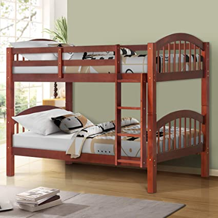 Amazon Com Harper Bright Designs Bunk Bed Solid Wood Twin Over Twin