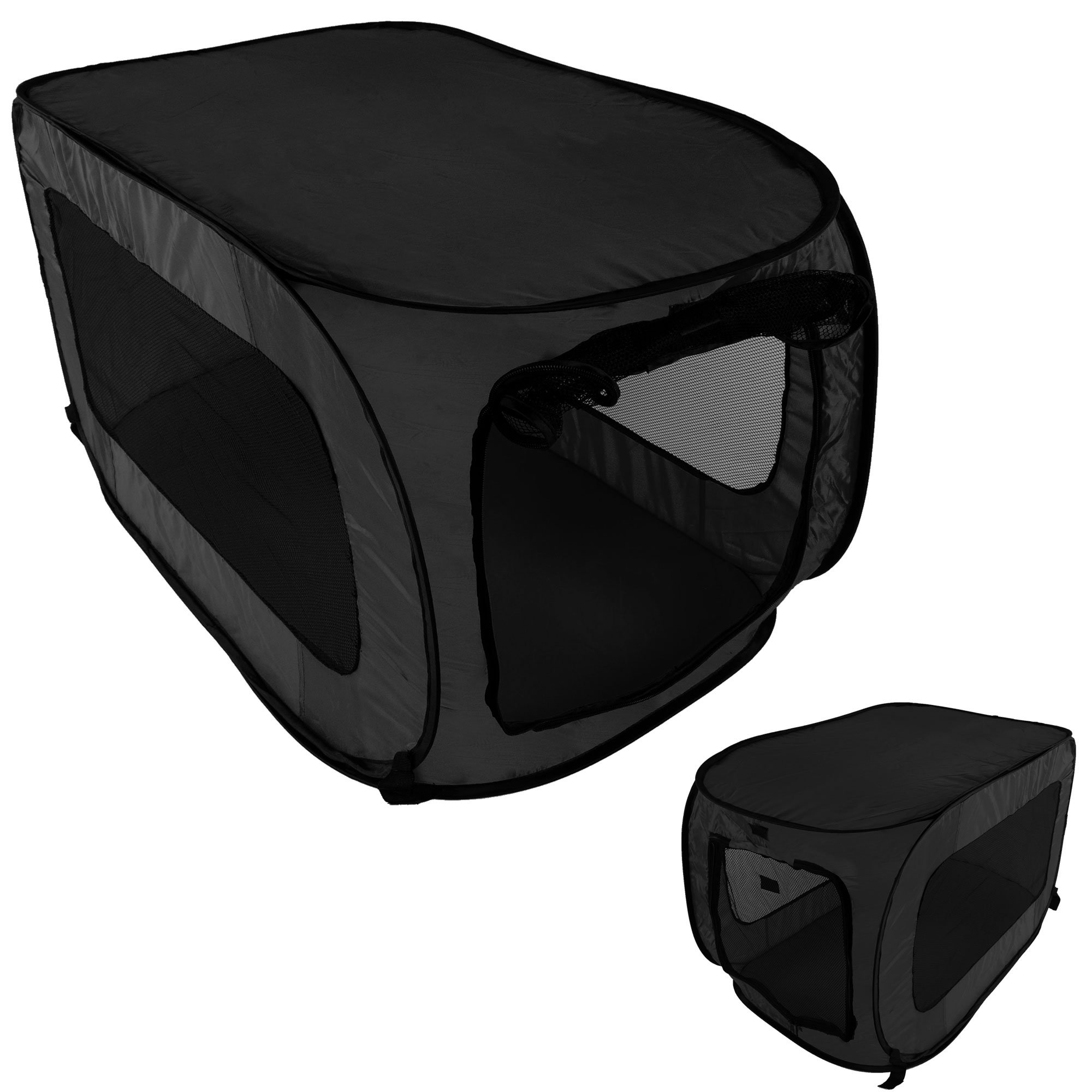 Pet Kennel Crate Pop Open Soft Collapsible Indoor/Outdoor Portable Foldable Travel, Black