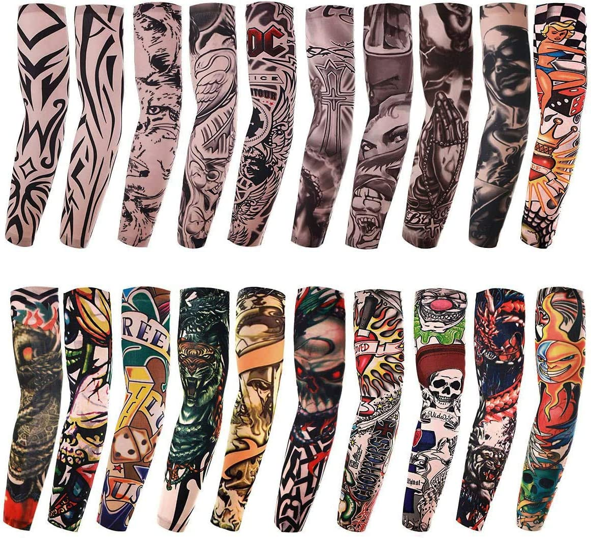 20 Piece Fake Temporary Arm Tattoo Sleeves - Tigers, Skulls, Tribal, Heart designs and more