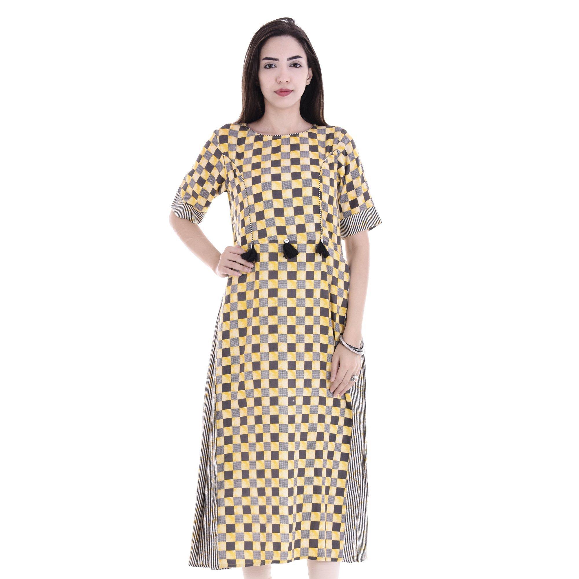 Chichi Indian Women Kurta Kurti 3/4 Sleeve XX-Large Size Checkered Round Multi-Colored Top