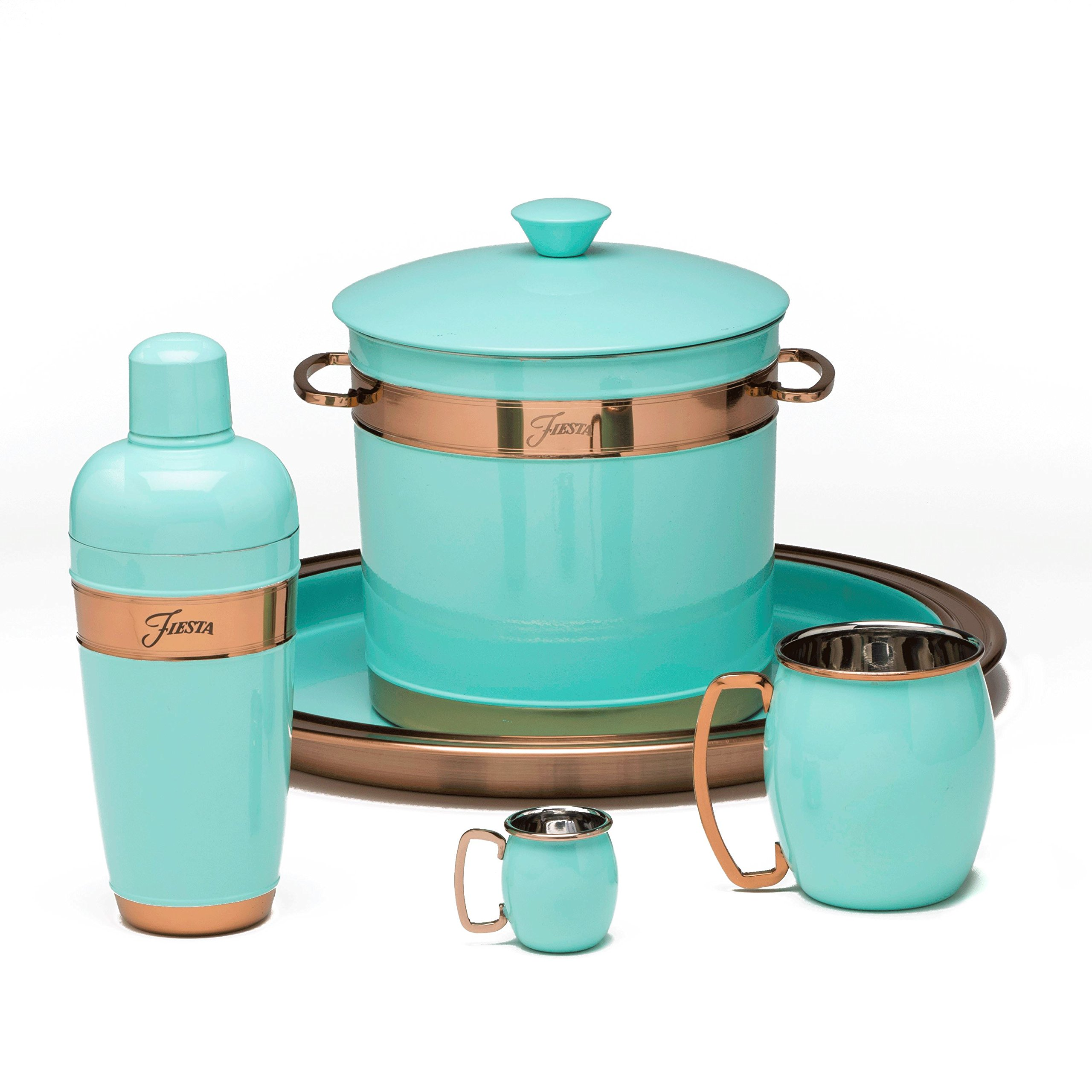 Fiesta 3 quart Double-Walled Ice Bucket with Copper Accents, Turquoise by Fiesta (Image #2)