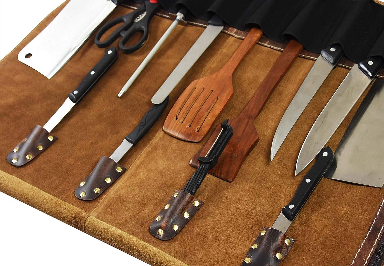 Bolsa de almacenamiento de cuero con rollo de cuchillo | Elásticos y expandibles 10 bolsillos | Correa de hombro ajustable / desmontable | Estuche de cuchillos de cocinero apto para viajes Roll