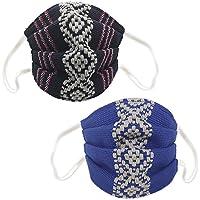 Azul Marino & Azul Rey, Dos cubrebocas de Telar Cintura. Artesanales, Lavables y Rehutilizable. Oaxaca. Hecho en México.