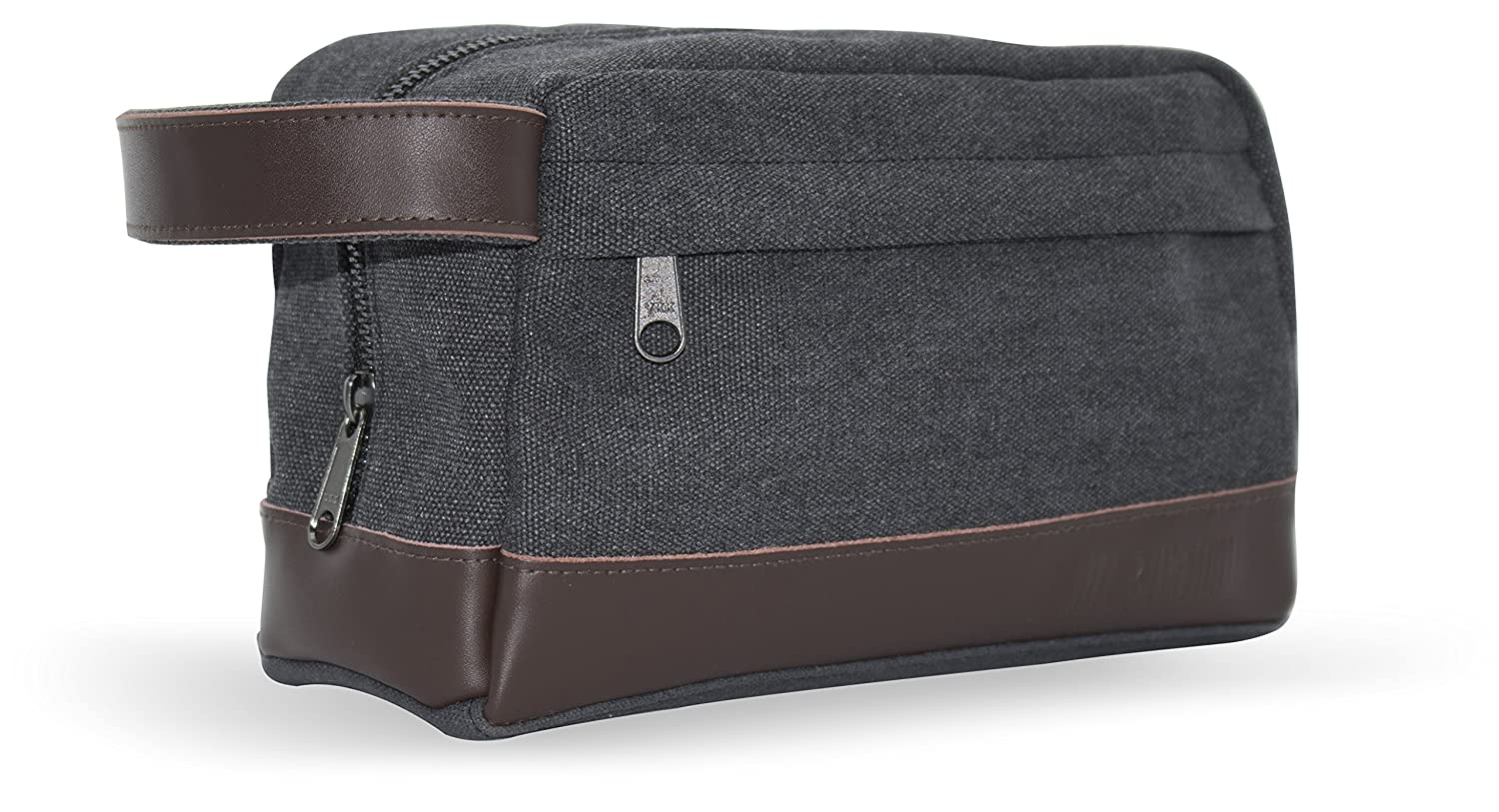 Men s Toiletry Wash Bag Dopp Kit – Canvas with Genuine Leather trim for Travel, Grooming and Shaving The Toiletry Wash Bag for Men by Mill Oxford