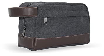 e7d08800ea57 Men s Toiletry Wash Bag Dopp Kit - Canvas with Genuine Leather trim for  Travel