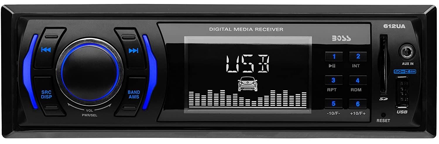 BOSS Audio 612UA Multimedia Car Stereo – Single Din, (No CD/DVD Player) MP3, USB Port, SD Card, AUX Input, AM/FM Radio Receiver