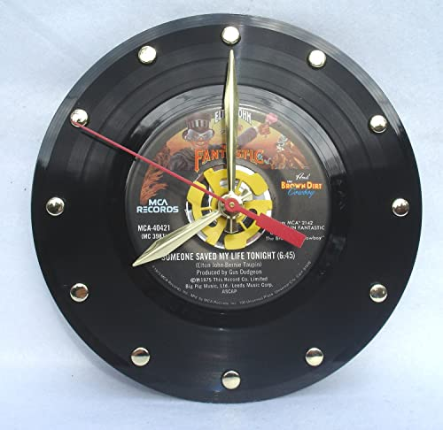 IT S OUR EARTH 45rpm Record Clock Hand Made Using Elton Johns 7 Someone Saved My Life Tonight 7 Record