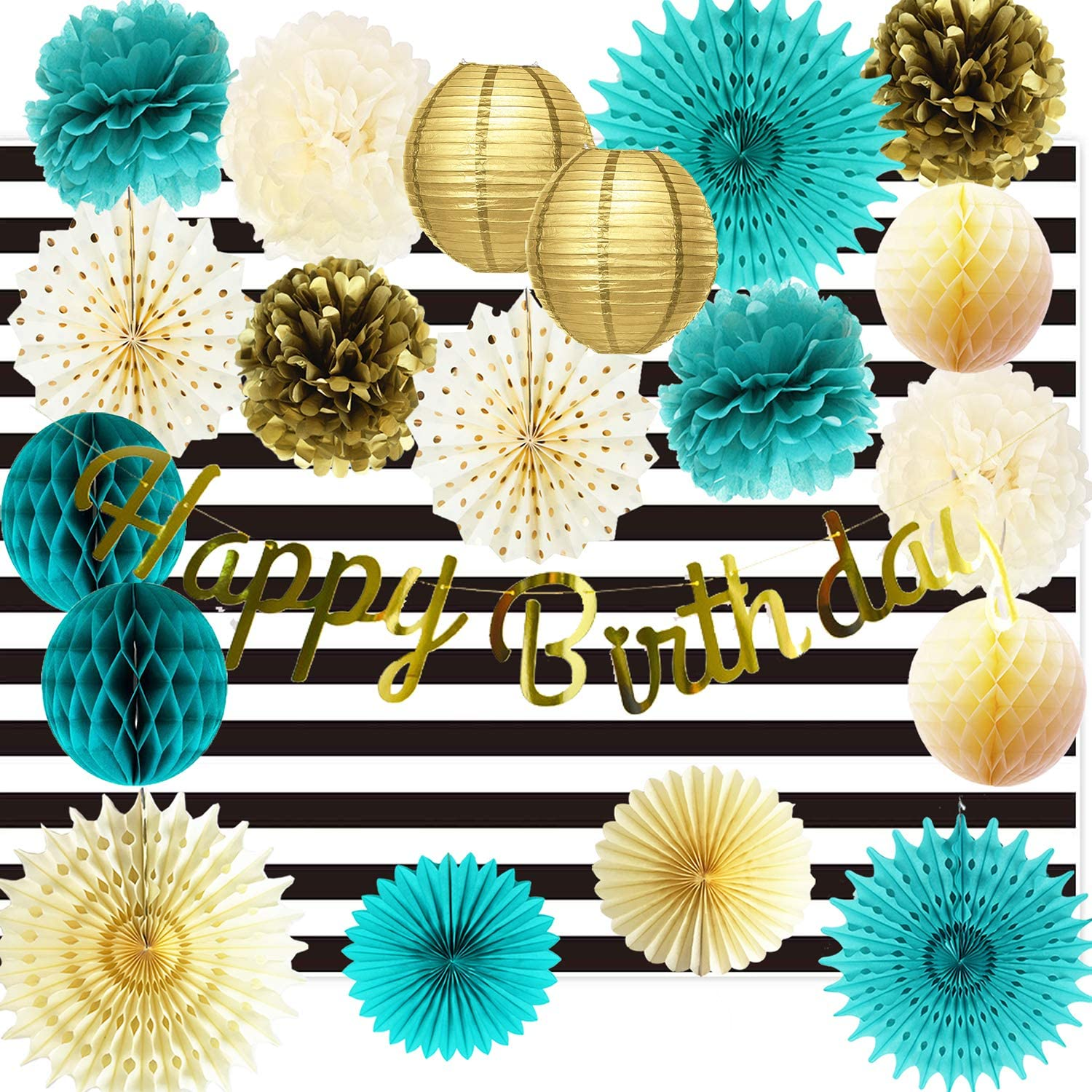 Birthday Decorations for Women Teal Gold Birthdays Gold Polka Dot Paper Fans Gold Happy Birthday Banner/White Black Strip Fabric Photography Backdrop for Women Teal Gold Birthday Decorations