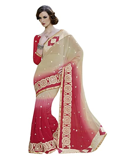 3b7bca99a1dbd7 Patang International Georgette Cream Embroidered Saree.  Amazon.in  Clothing    Accessories