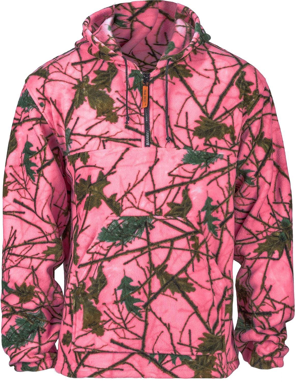 Girls Pink Camo Fleece Hunting Camouflage 1/4 Zip Hooded Sweatshirt 25121-94