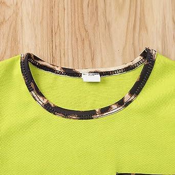 Shorts JBP Toddler Girls Leopard Print Outfits Short Sleeve Pocket T-Shirt