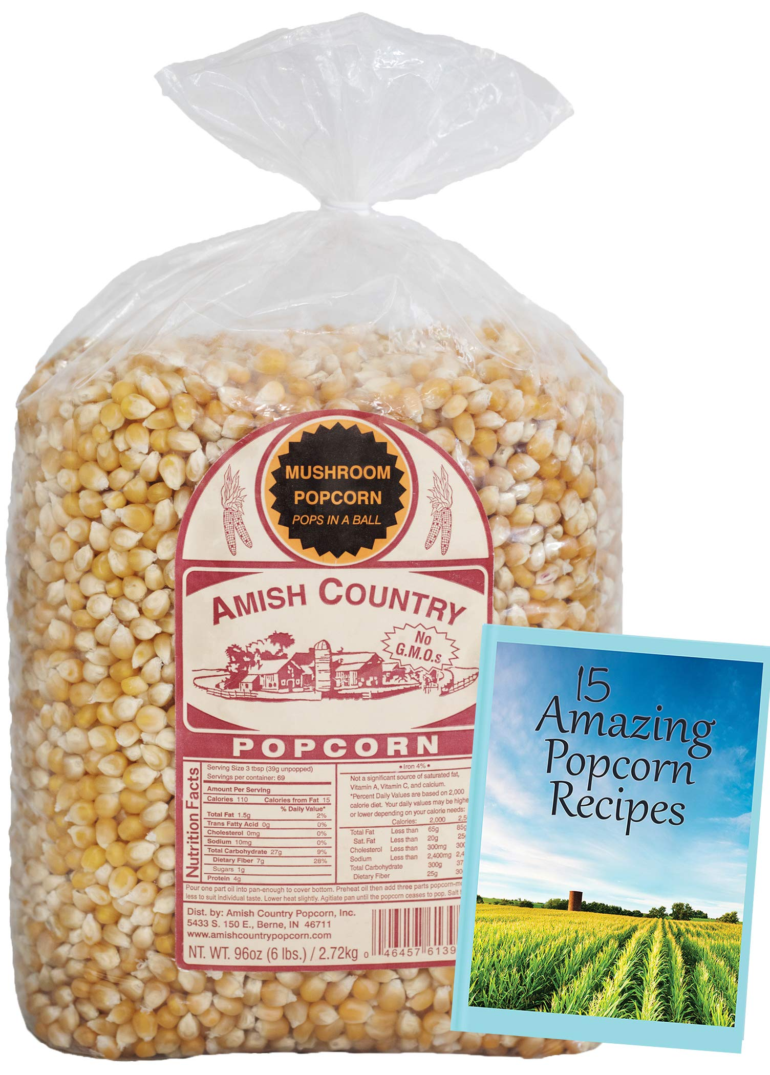 Amish Country Popcorn - Mushroom Popcorn (6 Pound Bag) - Old Fashioned, Non GMO, Gluten Free, Microwaveable, Stovetop and Air Popper Friendly - with Recipe Guide by Amish Country Popcorn (Image #2)