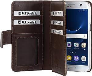StilGut Talis XL Custodia protettiva per Samsung Galaxy S7 con tasche per carte. Chiusura a libro Flip Case per Samsung Galaxy S7, cognac