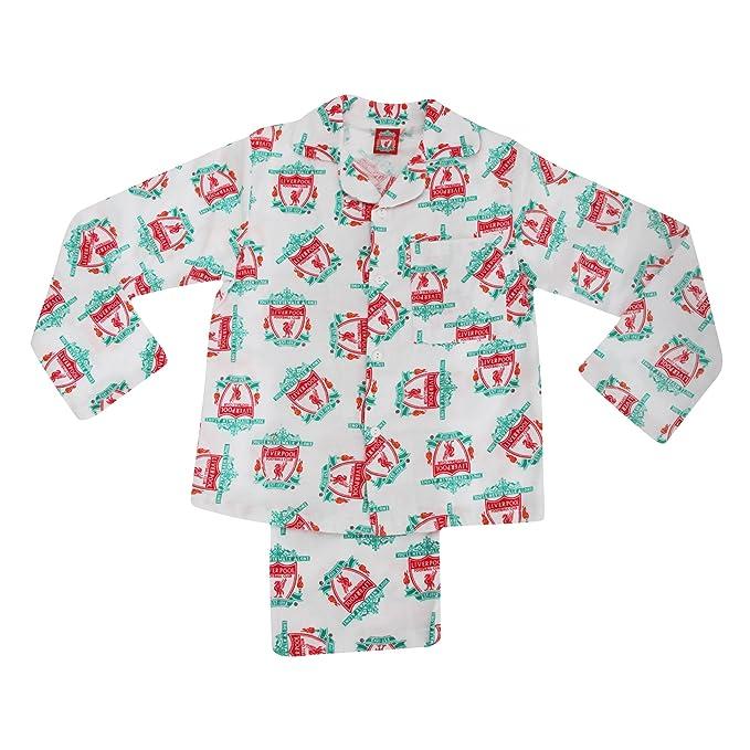 Conjunto de pijama de manga larga de franela para invierno del Liverpool FC para niños (