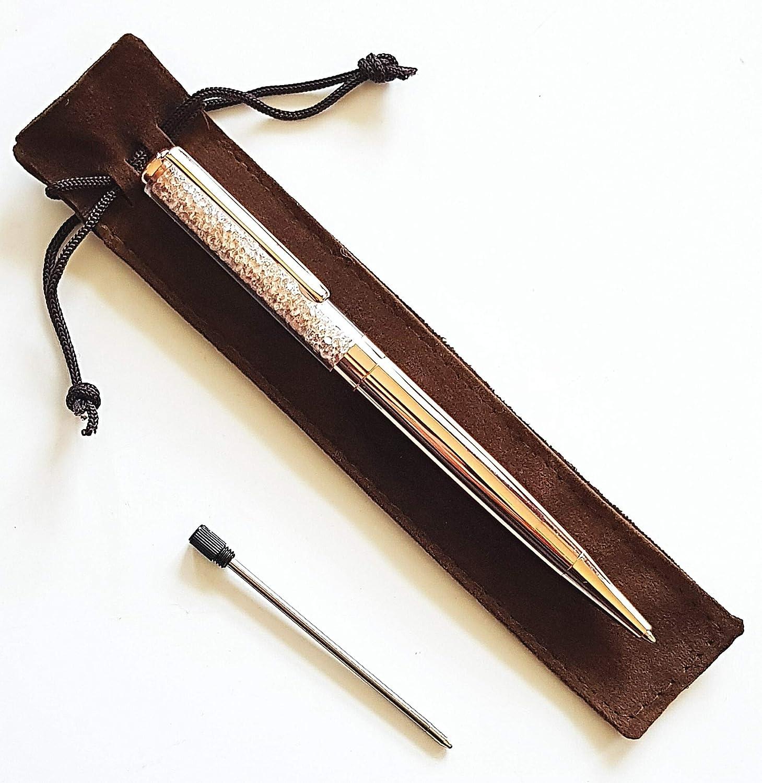 Stunning Black /& Diamante filled black Biro pen with velvet gift pouch *new*