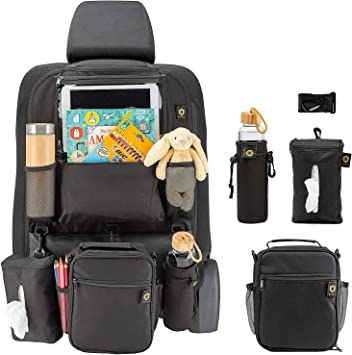 Set of 2 Universal Vehicle Backseat Multi-Pocket Organizers with Fold-able Tray /& Garbage Zone Great for Family Drive travels black