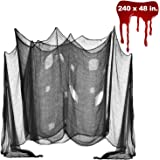 Halloween Creepy Cloth, DealKits Spooky Giant (48 x 240 in.) Cheese Cloth Tapestry for Halloween Party Supplies Decorations Outdoor Yard Home Wall Decor, Black
