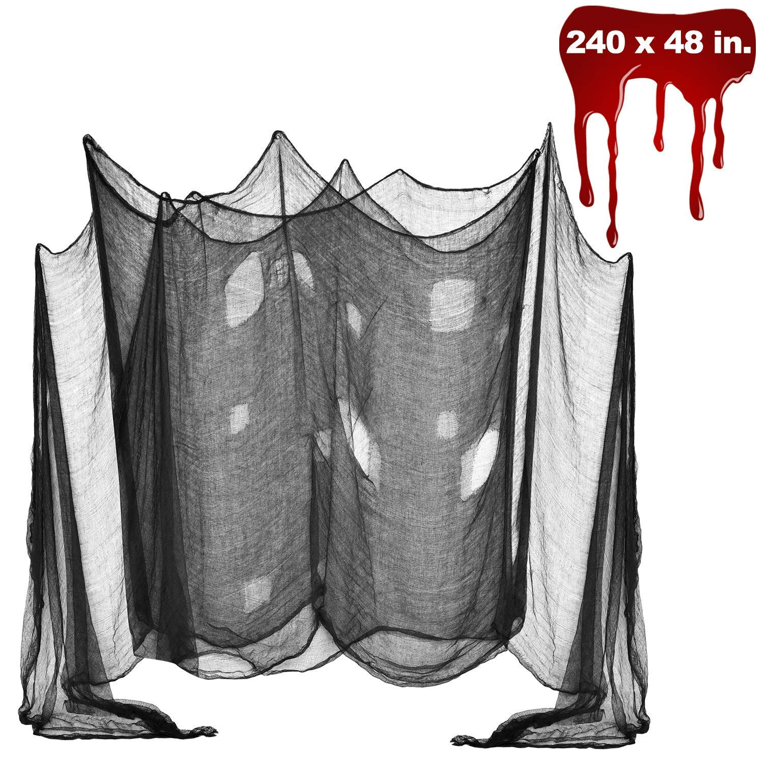 Halloween Creepy Cloth, DealKits Spooky Giant (48 x 240 in.) Cheese Cloth Tapestry for Halloween Party Supplies Decorations Outdoor Yard Home Wall Decor, Black by DealKits (Image #1)