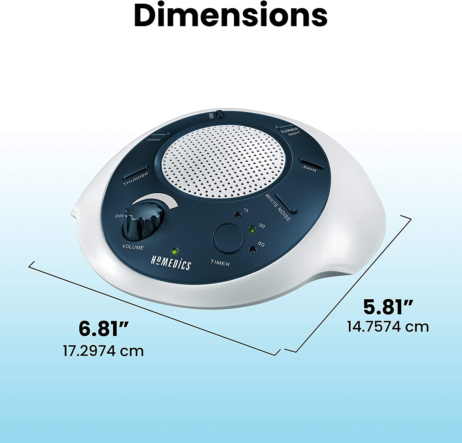 HoMedics White Noise Sound Machine   Portable Sleep Therapy for Home, Office, Baby & Travel   6 Relaxing & Soothing Nature Sounds, Battery or Adapter Charging Options, Auto-Off Timer   Sound Spa Blue