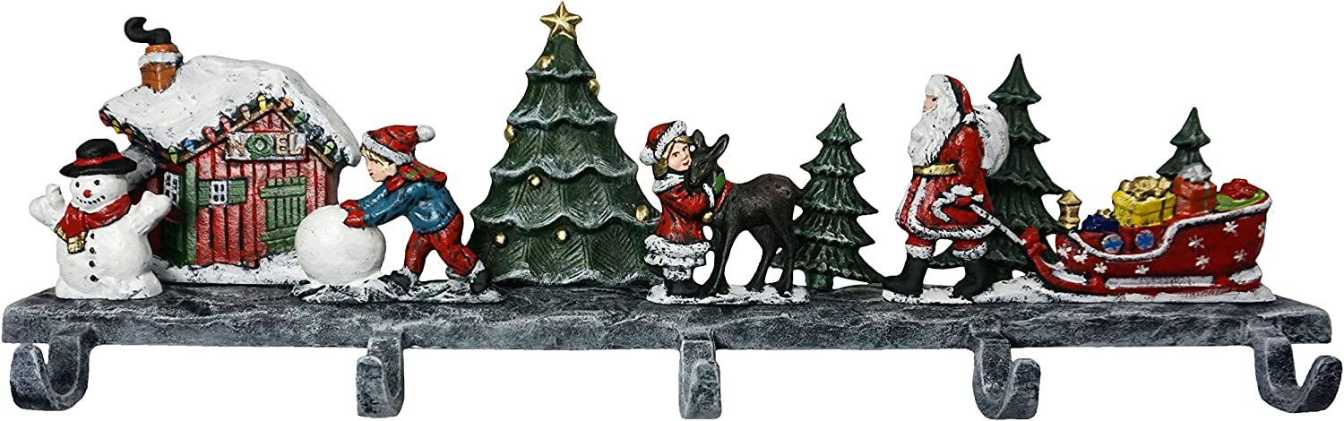 Lulu Decor, Cast Iron Christmas 3D House Stocking Holder, 19 lbs Heavy Stocking Hanger, Perfect for Holiday (5 Hooks)