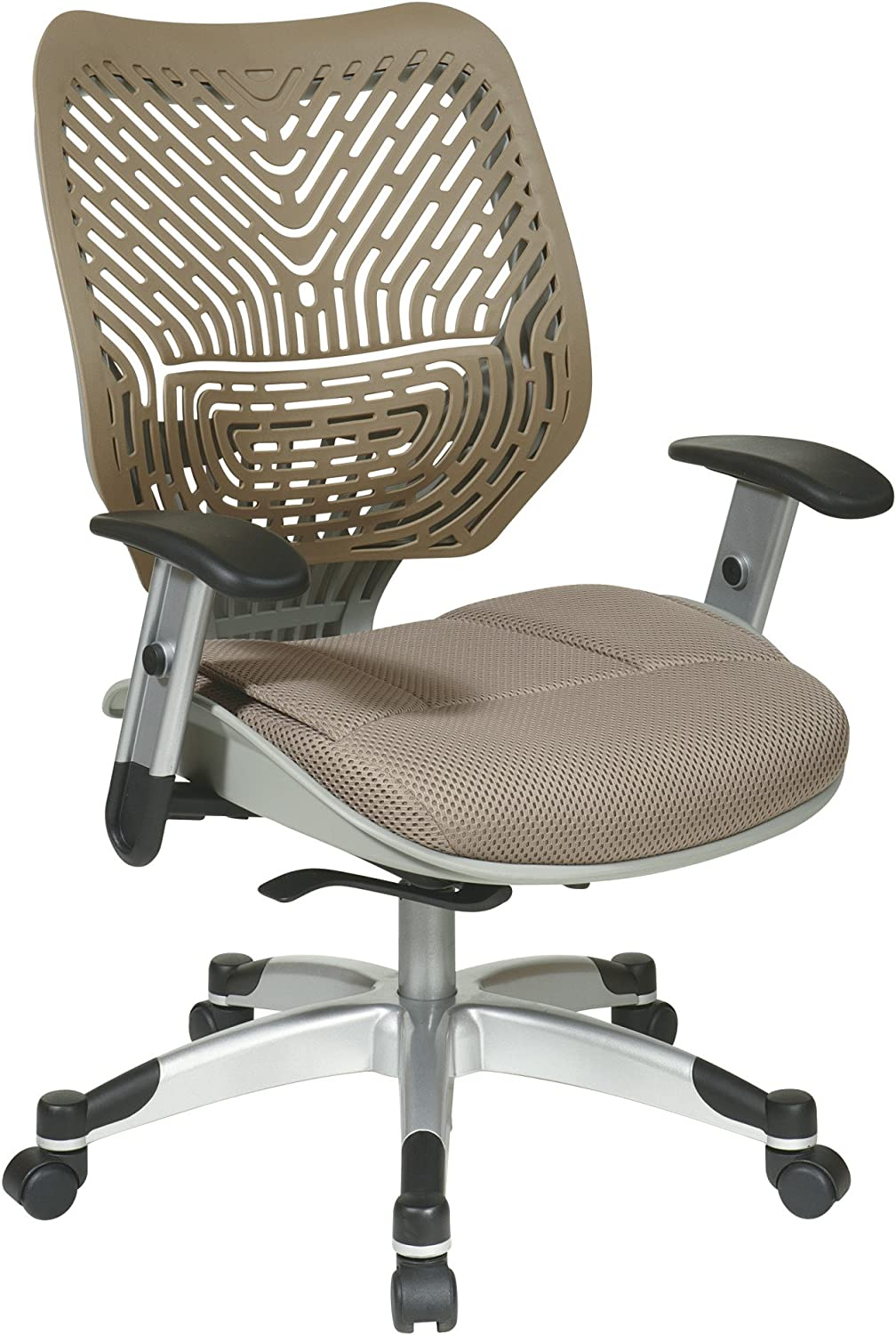 SPACE Seating REVV Self Adjusting SpaceFlex Latte Backrest Support and Paddeed Latte Mesh Seat with Adjustable Arms and Platinum Finish Base Managers Chair