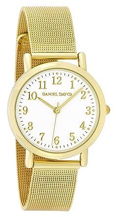Daniel David Womens | Minimalist Gold-Tone Mesh Bracelet Watch | DD16401