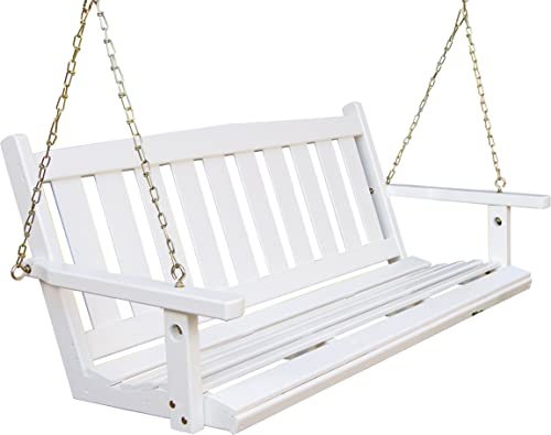 Porchgate Amish Made Mission White Porch Swing 5 Foot