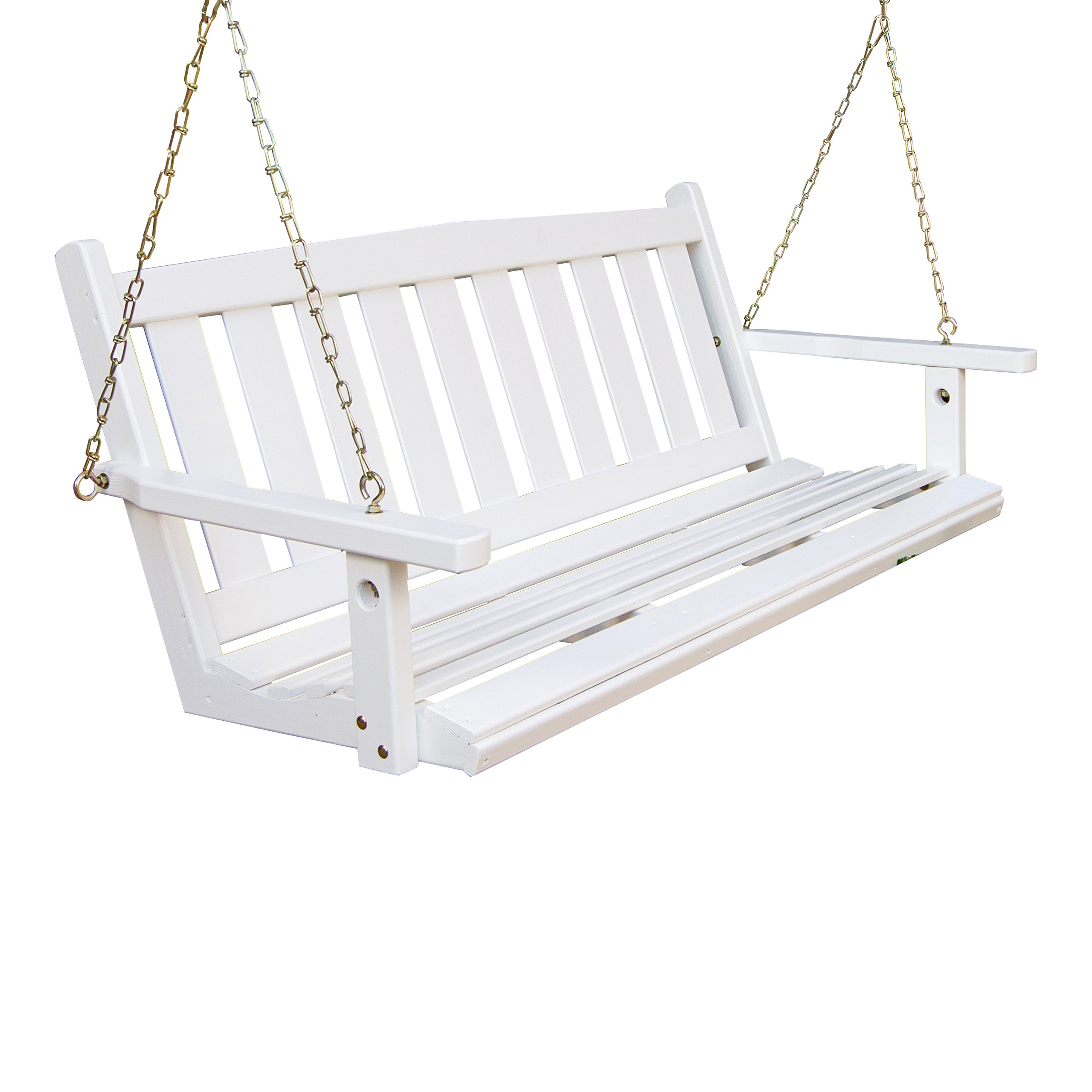 Porchgate Amish Made Mission White Porch Swing (5 Foot) by Porchgate